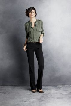 tallgirltales: I'd like this whole outfit from Ann Taylor. [via anntaylor] Olive Green Pants, Green Shirt, Green Blouse, Cute Hairstyles For Short Hair, Work Looks, Cute Shorts, Work Fashion, Timeless Fashion, Style Me