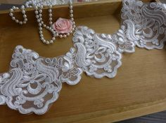 Vintage-Style Ivory Alencon Lace Trim Beautiful Wedding Bridal Lace Fabric Trim For Mantilla veil, Lace edged, Gown, Applique    This listing is for 2 yards. Width: 4.88 (12.4 cm) Use for neckline, shoulder belt, pillowcase, dresses, gifts, bags decoration, party dress, curtains, skirt bottoming, home decor and other projects you could imagine. Ideal for bridal, bedding, lingerie, dolls, hats, bows, kids clothes, handcraft accessory, etc.    Similar item:  https://www.etsy.com/...
