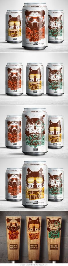 Rutt Beer Brewery - The complexity of the animal illustrations is complemented well by the playful typography and simple colour palettes, which hold the designs together. All of these elements together make me think they'd appeal to a mass audience. #Beer