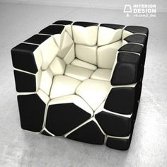 Christopher Daniel's Vuzzle Chair is made of individual cushions that can be rearranged into a cube shape when the chair is not in use. Might not remember how to assemble the chair again though! Unique Furniture, Furniture Design, Unique Sofas, Furniture Board, Christopher Daniels, Mid-century Modern, Modern Design, Creative Design, Muebles Art Deco