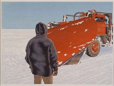 Alex Colville, Snow Plough, From the University of Lethbridge Art Collection. Gift of Canaccord Capital Corporation, Alex Colville, Canadian Painters, Canadian Artists, Christopher Pratt, Toronto, Art Gallery Of Ontario, Tate Gallery, Inuit Art, Magic Realism