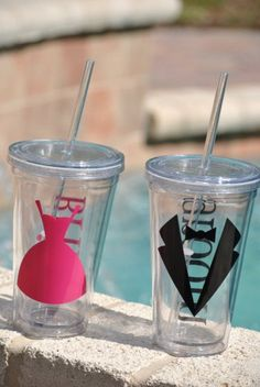Personalized Wedding Tumblers with lids and straws