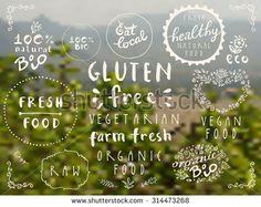 100% bio, eat local, healthy food, farm fresh food, eco, organic bio, gluten free, vegetarian, vegan labels. Blurred rural background. Restaurant menu logo, badges templates. Vector