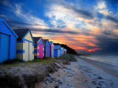 Sunrise in Mornington - Victoria, Australia Australia Beach, Victoria Australia, Australia Travel, Melbourne Victoria, Sunny Beach, Beach Cottages, Beach Houses, Beach Art, Beautiful Beaches