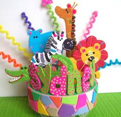 JUNGLE / ZOO ANIMALS BIRTHDAY CAKE TOPPER PERSONALIZED
