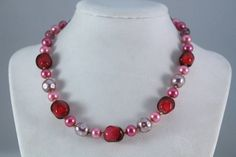 Beautiful Pink And Silver Bead Choker / Necklace - Japan by amyrigs on Etsy