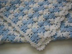 Pontos de Tricô e Crochê para mantas de Bebê com gráfico e fotos