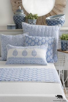 Block printed and hand stitched, our jaipur bedding is soft and special. Indian Bedroom Decor, Indian Home Decor, Indian Interiors, Cushion Cover Designs, Soft Furnishings, Home Textile, Home Decor Inspiration, Bed Sheets, Fashion Bubbles