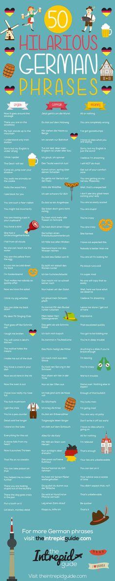 50 Amusing German Phrases That Will Brighten Your Day - Deutsch - Oktoberfest German Grammar, German Words, Funny German Phrases, Grammar Funny, German Language Learning, Spanish Language, French Language, Dual Language, Learn German