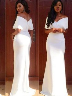 Sheath Off-the-Shoulder Short Sleeves Floor-Length Evening Dress