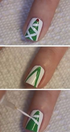 Tinsel Christmas Tree | Click Pic for 20 Easy Christmas Nails Art Designs Winter | Easy Nails Designs for Short Nails