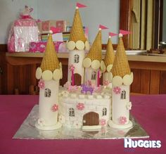 To help our gorgeous little princess celebrate her 3rd birthday I made her this castle cake. I worked on it after she went to bed so that she would be surprised on the day. I only wish I had a camera handy to capture the look on her face when she saw it! This was my first attempt at creating a themed cake and now I am hooked - I am already designing the next one!