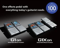 G1xon Guitar Multi-Effects Processor Amazing effects, amazing features, amazing sound.  The G1on offers 100 guitar effects, including a variety of distortion, compression, modulation, delay, reverb and amp models. The G1Xon offers an additional 5 pedal-controlled effects.