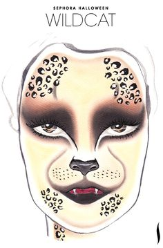 Need a Halloween look? Get inspiration from the Wildcat face chart created by our talented Sephora artists. Cat Halloween Makeup, Halloween Looks, Halloween Contacts, Makeup Fx, Makeup Cosmetics, Makeup Ideas, Cat Face Makeup, Makeup Face Charts, Fantasy Make Up