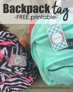 If your kids are heading back to school, be sure to grab one of these adorable backpack tag printables!!  They are a great way to add some personality to your kiddo's backpack but also to help them keep track of it and important information!