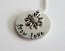 "Hand Stamped Aluminum ""grow love"" Necklace with Sunflower Charm / Hand Stamped Sunflower Pendant / ""grow love"" Pendant"