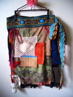 Bohemian Gypsy patchwork Wrap Skirt size M  XL by ApricotCircus, $108.00