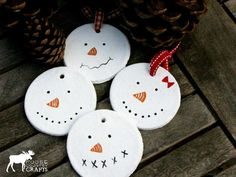Primitive Snowmen ornaments salt dough by MooseCountryCrafts, $3.00