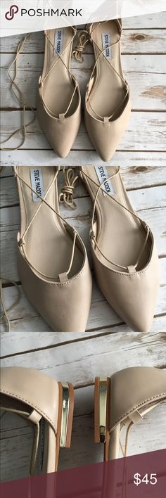 Steve Madden lace up flats Never worn! Have gorgeous gold detailing on the heel Steve Madden Shoes Flats & Loafers