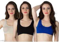 Sports Bra Women's Non Padded Sports Bra Fabric: Nylon Spandex Print or Pattern Type: Solid Padding: Non Padded Type: Sports Bra Multipack: 3 Sizes: Free Size (Underbust Size: 29 in Overbust Size: 35 in) Country of Origin: India Sizes Available: Free Size   Catalog Rating: ★4 (1365)  Catalog Name: Stylish Women Bra CatalogID_638334 C79-SC1409 Code: 792-4431876-996