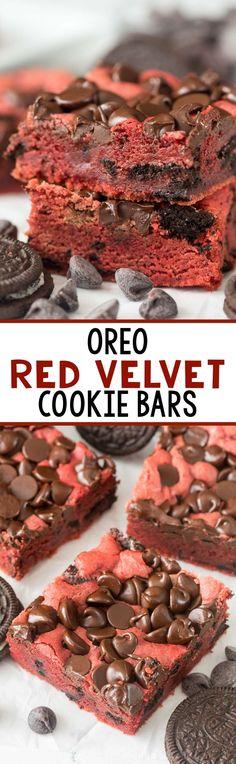 Oreo Red Velvet Cookie Bars - this easy blondie recipe is full of red velvet fla. Oreo Red V Köstliche Desserts, Best Dessert Recipes, Sweet Recipes, Delicious Desserts, Yummy Food, Bar Recipes, Recipies, Cupcakes, Red Velvet Cake Rezept