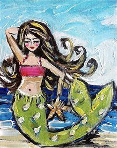 Whimsical Mermaid Painting by DevinePaintings on Etsy, $65.00