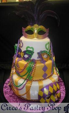mardi gras cake   ... Fondant Wedding Cakes, Pastries and Cookies   Mardi Gras Fondant Cake