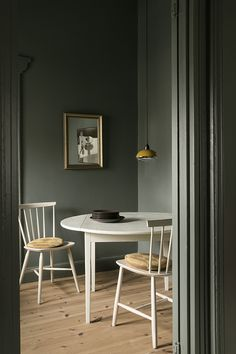 Grey green dining room for a modern Scandinavian feel