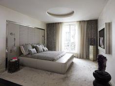 T te de lit contemporaine avec table de chevet int gr e - Photo de chambre parentale ...
