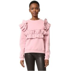 MSGM Ruffle Cotton Sweatshirt (¥21,280) ❤ liked on Polyvore featuring tops, hoodies, sweatshirts, pink, flounce top, frilly tops, relaxed fit tops, frill top and ruffle top