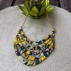www.cewax.fr aime Collier multirang en tissu africain wax