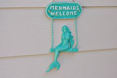 Beach Welcome Sign and Wall Decor - Mermaid Welcome Sign $32.00 (for bathroom gallery wall)