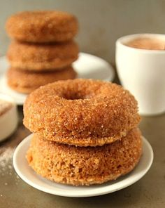 Whole Wheat Cinnamon Sugar Baked Doughnuts with a tender crumb. No rising time, kneading, or frying make these donuts quite simple.