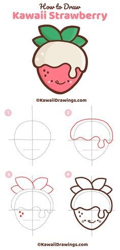 Step-by-step tutorial to draw an easy and cute kawaii strawberry This sweet strawberry wrapped in luxurious white chocolate is a great drawing project to do with kids or to use for your next craft project Kawaii art and drawing tutorial by Tatyana Deniz Easy Doodles Drawings, Easy Doodle Art, Cute Easy Drawings, Cute Little Drawings, Cute Cartoon Drawings, Art Drawings For Kids, Cute Kawaii Drawings, Cute Animal Drawings, Kawaii Art