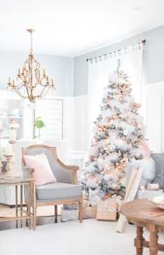 Blush and Copper Christmas tree. This chic and modern girly christmas decor is perfect for anybody who loves chic decor! Christmas Living Rooms, Christmas Room, Christmas Holidays, Vintage Christmas, Victorian Christmas, Christmas Ideas, Christmas Sled, Christmas Gifts, Father Christmas