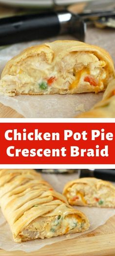 Chicken Pot Pie Crescent Braid Ingredients seamless crescent roll dough I used Pillsbury 1 cup cooked chicken 1 cup frozen peas and carrots cup cream of chicken condensed soup 4 oz cream cheese… Cheese Recipes, Soup Recipes, Chicken Recipes, Chicken Ideas, Crescent Roll Dough, Crescent Rolls, Cooked Chicken, How To Cook Chicken, Roast Pumpkin Soup