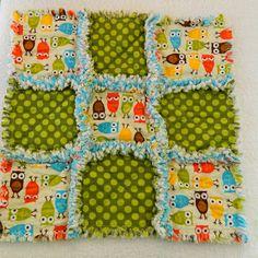Boys Baby Blanket Warm Owls Rag Quilt Lovey by Sewingdreamsnotions, $22.00