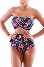 Rose Pattern Polka Dot High-waisted Peplum Bikinis women fashion (US warehouse)