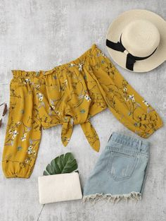 SHARE & Get it FREE | Self Tied Floral Off Shoulder Top - Yellow SFor Fashion Lovers only:80,000+ Items • New Arrivals Daily Join Zaful: Get YOUR $50 NOW!