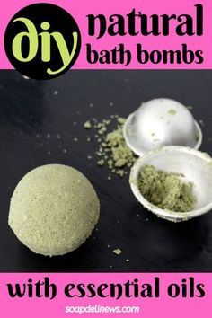 Easy Bath Bomb Recipe with essential oils & natural colorants. This easy bath bomb recipe is crafted with a combination of skin conditioning butters and essential oils. Naturally colored with spinach powder and French green clay, this natural bath bomb recipe not only fights the visible signs of aging, it can also help prevent or clear up back acne. Plus tips and tricks for making the perfect bath bombs! #diybathbombs #essentialoils Bath Bomb Recipes, Soap Recipes, Homemade Skin Care, Diy Skin Care, Natural Bath Bombs, Bombe Recipe, Natural Beauty Recipes, Diy Beauty, Beauty Ideas