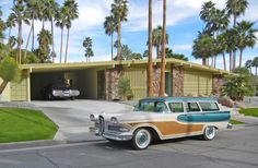 Las Palmas estate with Edsel Vista Las Palmas estate with 1958 Edsel Bermuda station wagon.Vista Las Palmas estate with 1958 Edsel Bermuda station wagon. Mid Century Decor, Mid Century House, Mid Century Style, Mid Century Modern Design, Mid Century Exterior, Surf, Googie, Retro Home, Station Wagon