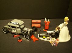 AUTO MECHANIC Ford Model A Hot Rod Wedding Cake Topper