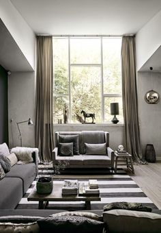vosgesparis: A Danish home with rustic elements  those fluid drapes make this whole room...