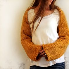 Knit this pretty shrug with Lion Brand Wool-Ease Thick & Quick! Perfect for fall!