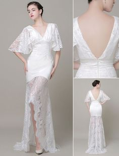 Boho Wedding Dress Lace Illusion Train Backless V-Neck Court Train High-Low Mermaid Evening Dress Milanoo