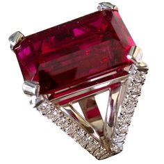 A Beautiful Rubellite Tourmaline Diamond White Gold Ring | From a unique collection of vintage cocktail rings at https://www.1stdibs.com/jewelry/rings/cocktail-rings/