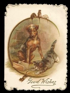 P92 - VICTORIAN CHRISTMAS CARD - CAT & DOG CHASE MICE - TRIMMED - DIE-CUT EDGE in Collectables, Paper & Ephemera, Greeting Cards | eBay