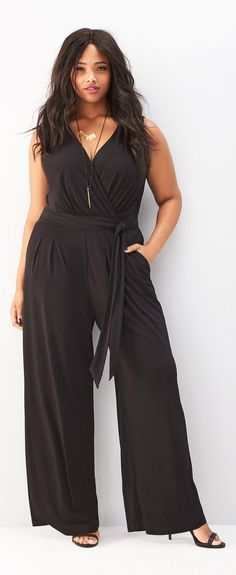 Plus Size Wide Leg V-Neck Jumpsuit--would need to wear a shrug or something over arms, but I like this idea! It's coming back...