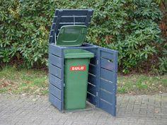 1er Mülltonnenbox aus Holz, für 120 L & 240 L Tonne, Farbe: Deckend Geölt Anthrazit