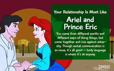 I took Zimbio's Disney couple quiz & my relationship is like Ariel and Prince Eric! What about you? #ZimbioQuiznull - Quiz